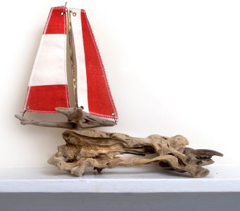 Driftwood Boat Small Red Boat