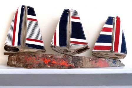 Driftwood Boat Three Red Boats from Cambois