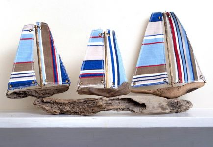 Driftwood Boat Three Small Boats from Alnmouth