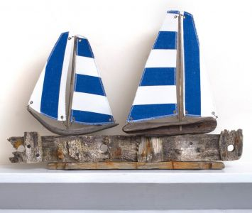Driftwood Boat Two Blue and White Lobster Pot Boats
