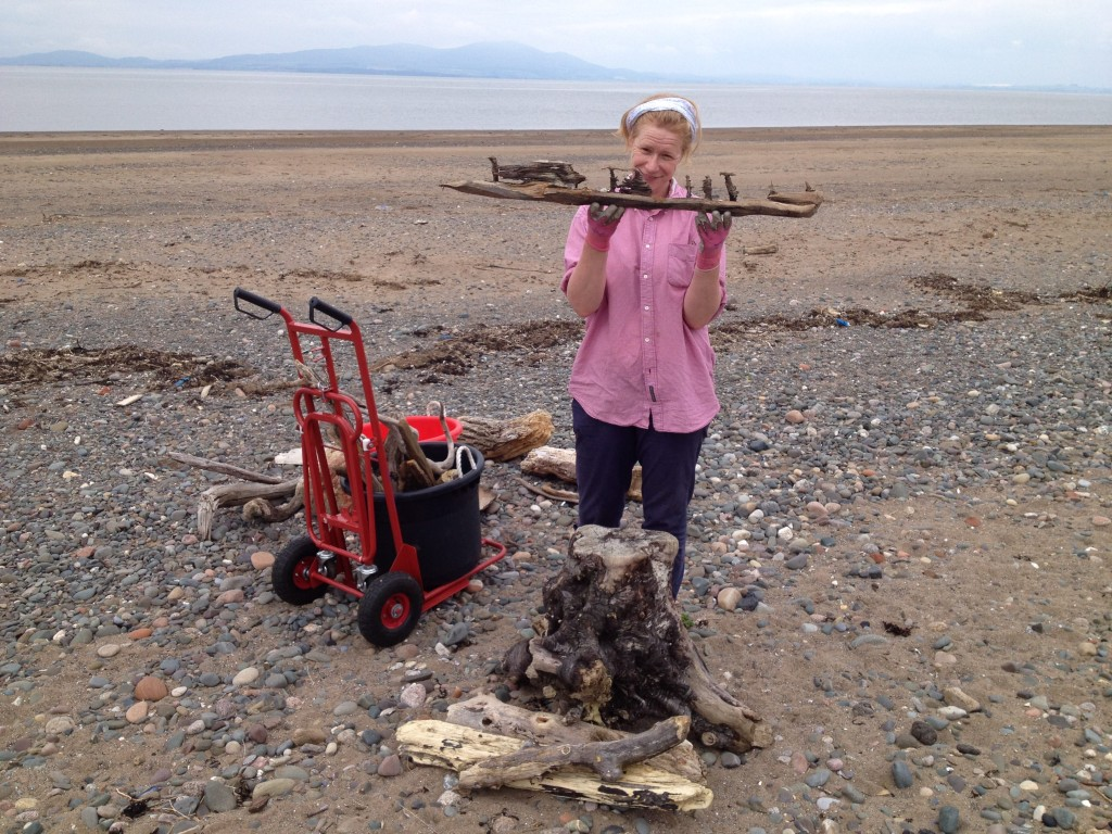 Merope collecting driftwood on the North-west coast of England near Carlisle